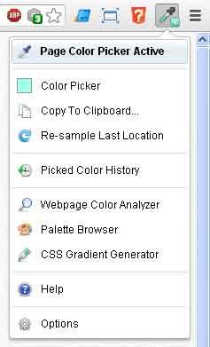 Screenshot of ColorZilla extension