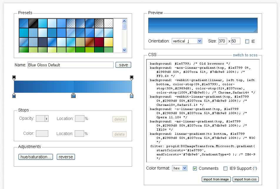 Screenshot of ColorZilla Gradient Generator