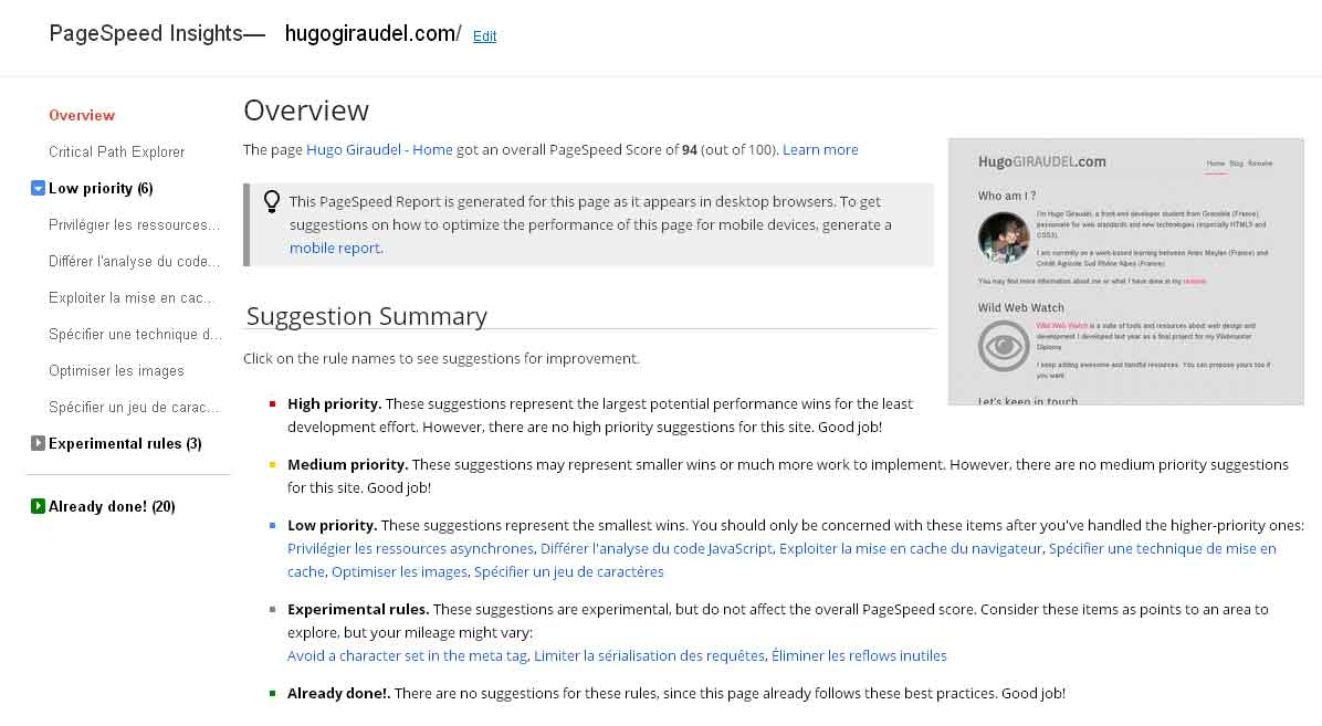 Screenshot of PageSpeed Insights